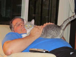 Lily in an amorous mood with her Daddy.